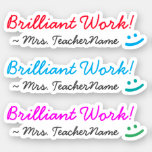 "[ Thumbnail: Encouraging ""Brilliant Work!"" Marking Sticker ]"