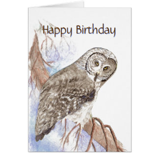 Encouraging, Compliment Cute Owl Birthday Card