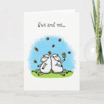 Encouraging friendship card cute sheep cartoon.