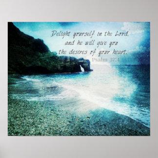 Encouraging, Inspirational Bible Verse Psalm 37:4 Poster