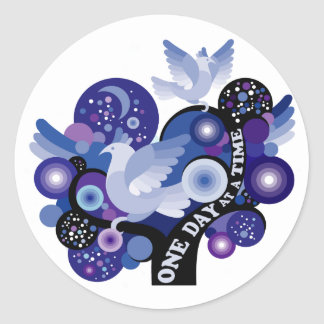 Encouraging One Day A Time Tree Doves Classic Round Sticker