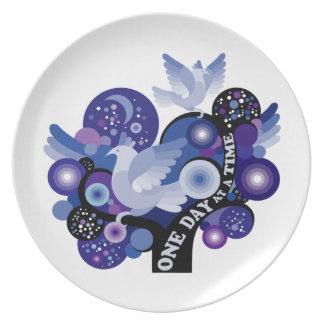 Encouraging One Day A Time Tree Doves Melamine Plate