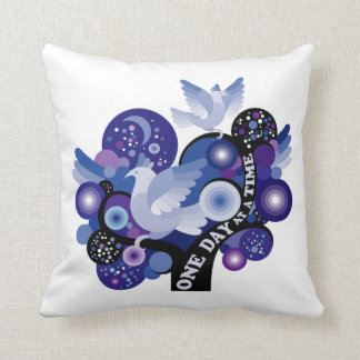 Encouraging One Day A Time Tree Doves Throw Pillow