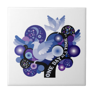 Encouraging One Day A Time Tree Doves Small Square Tile