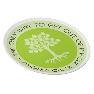 Encouraging Quote Green Tree Plate