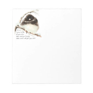 Encouraging, Scripture Matthew 11:28 Cute  Birds Notepad