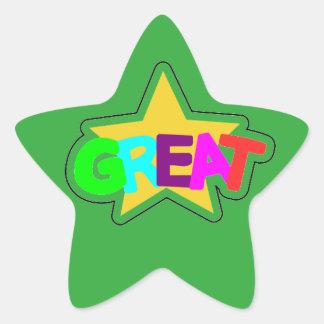 Encouraging Words Star Stickers, great, green Star Sticker