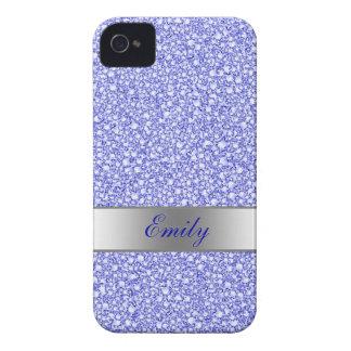 Encrusted Blue Diamonds Look Glitter Patter iPhone 4 Case-Mate Case