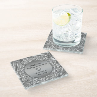 Encrusted diamonds And Silver 25th Anniversary Glass Coaster