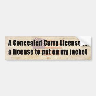 Encubierto lleve la licencia de poner mi chaqueta pegatina para auto