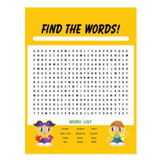 Encuentre las palabras, tarjeta de la actividad de tarjetas postales