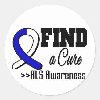 Encuentre una conciencia del ALS de la curación Pegatina Redonda