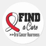 Encuentre una conciencia oral del cáncer de la pegatina redonda