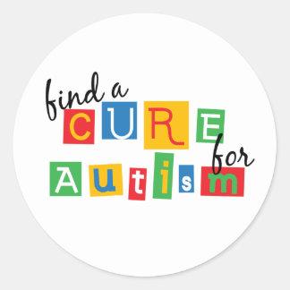 Encuentre una curación para el autismo pegatina redonda