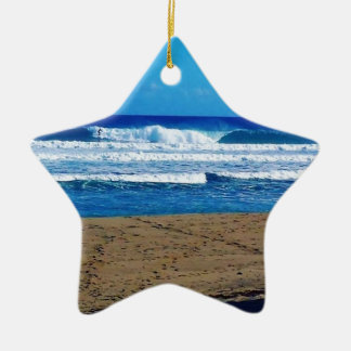 ENCUENTRO BEACH SURFING WAVES OCEAN PHOTOGRAPHY DO CERAMIC ORNAMENT
