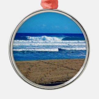 ENCUENTRO BEACH SURFING WAVES OCEAN PHOTOGRAPHY DO METAL ORNAMENT