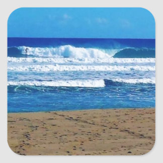 ENCUENTRO BEACH SURFING WAVES OCEAN PHOTOGRAPHY DO SQUARE STICKER