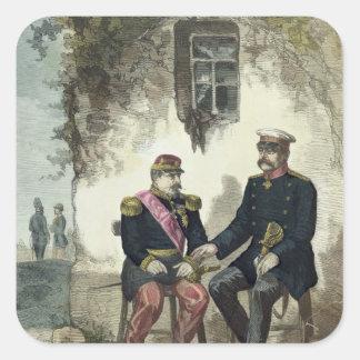 Encuentro entre Otto von Bismarck y Napoleon Pegatina Cuadrada