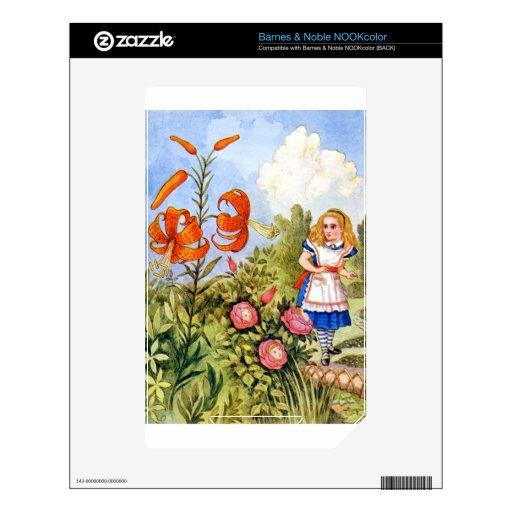 Encuentros de Alicia que hablan las flores en el p NOOK Color Calcomanía