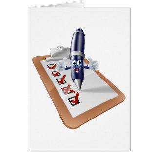 Encuesta sobre la persona y el tablero de la pluma tarjetas