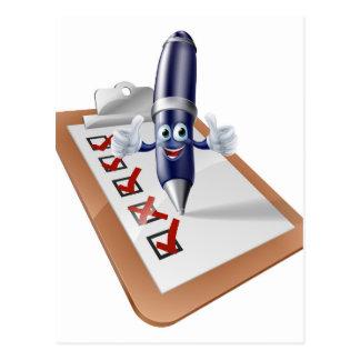 Encuesta sobre la persona y el tablero de la pluma tarjetas postales