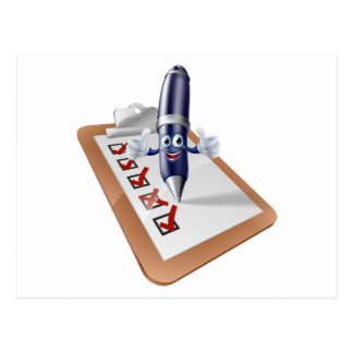 Encuesta sobre la persona y el tablero de la pluma postal