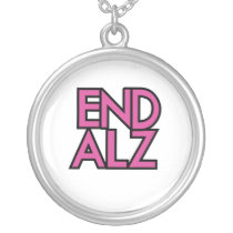 End Alz Alzheimer's Awareness Month Purple Gifts Silver Plated Necklace