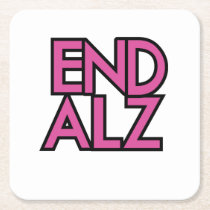 End Alz Alzheimer's Awareness Month Purple Gifts Square Paper Coaster
