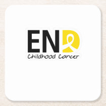 End Childhood Cancer Square Paper Coaster