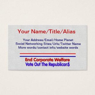 END CORPORATE WELFARE BUSINESS CARD