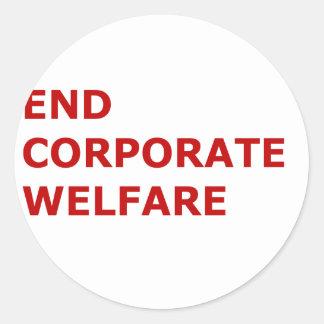 End corporate welfare round sticker