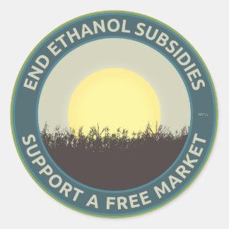 End Ethanol Subsidies Round Stickers