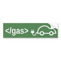 End Gas Go Electric Green Car Bumper Sticker