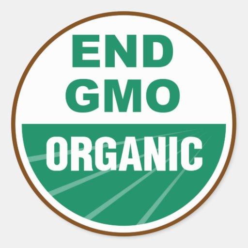 End GMO Organic Round Stickers