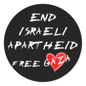End Israeli Apartheid Free Gaza Classic Round Sticker