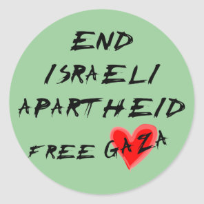 End Israeli Apartheid Free Gaza Classic Round Sticker
