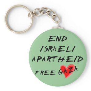 End Israeli Apartheid Free Gaza Keychain