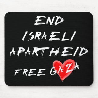 End Israeli Apartheid white text on dark mousepad