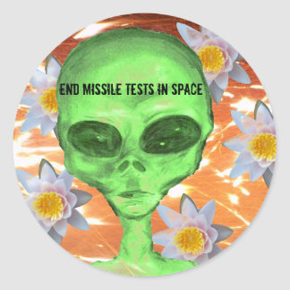 End Missile Tests in Space Classic Round Sticker