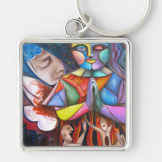 End Of Ages / Fantasy Art Silver-Colored Square Keychain