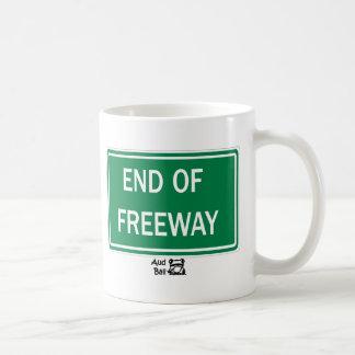 End of freeway road sign. mug