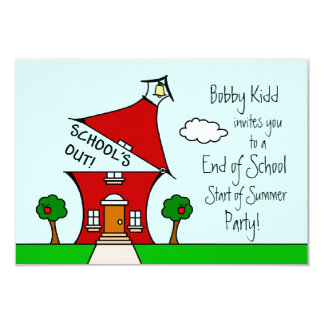 """End of School / Start of Summer Party Invite 3.5"""" X 5"""" Invitation Card"""