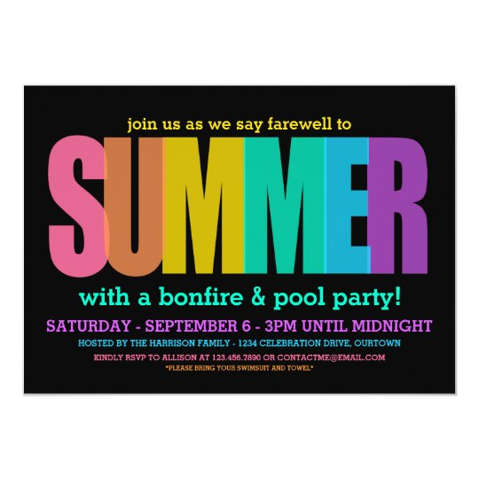 end of summer party invitations zazzle com