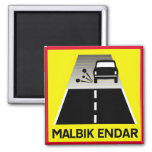 End Of Tarred Road, Traffic Sign, Iceland 2 Inch Square Magnet