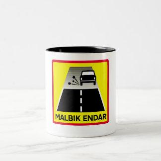End Of Tarred Road, Traffic Sign, Iceland Mug
