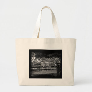 End of the Day - White Knight Horse Large Tote Bag