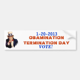 End of the OBAMINATION 1-20-13 Bumper Sticker