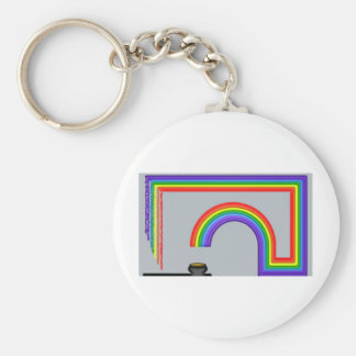 End of the Rainbow Basic Round Button Keychain