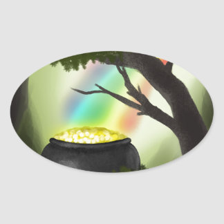 End of the Rainbow Oval Stickers