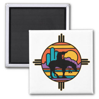 End of the Trail Native American Indian 2 Inch Square Magnet